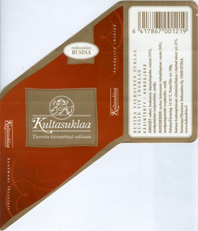 White chocolate with raisins, handmade chocolate, 100g, 2006, Kultasuklaa Oy, Iittala,  Finland