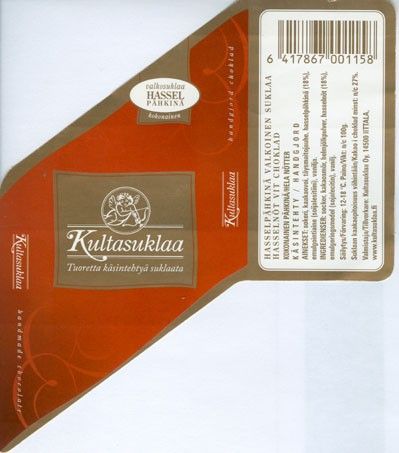 White chocolate with whole hazelnuts, handmade chocolate, 100g, 2006, Kultasuklaa Oy, Iittala,  Finland