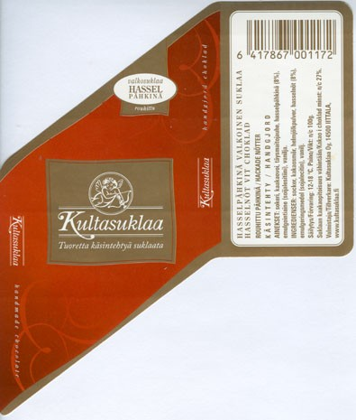 White chocolate with hazelnuts, handmade chocolate, 100g, 2006, Kultasuklaa Oy, Iittala,  Finland
