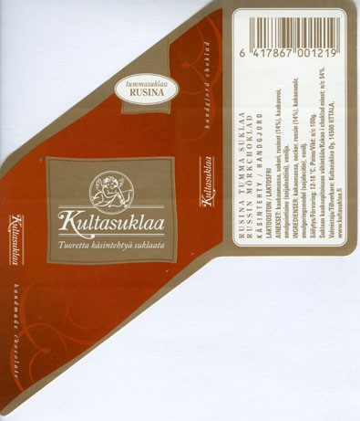 Dark chocolate with raisins, handmade chocolate, 100g, 2006, Kultasuklaa Oy, Iittala,  Finland