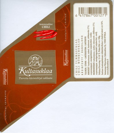 Dark chocolate with chili, handmade chocolate, 100g, 2006, Kultasuklaa Oy, Iittala,  Finland