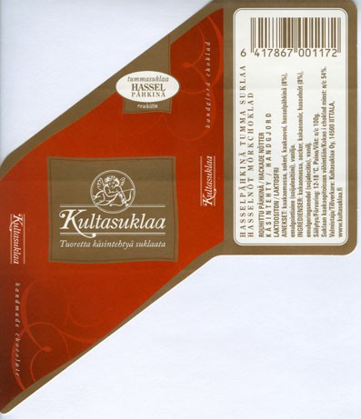 Dark chocolate with hazelnuts, handmade chocolate, 100g, 2006, Kultasuklaa Oy, Iittala,  Finland