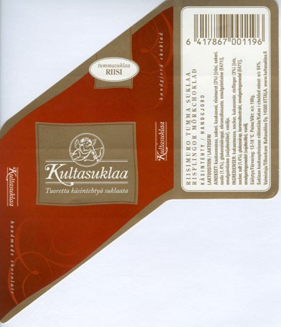 Dark chocolate with rice, handmade chocolate, 100g, 2006, Kultasuklaa Oy, Iittala,  Finland