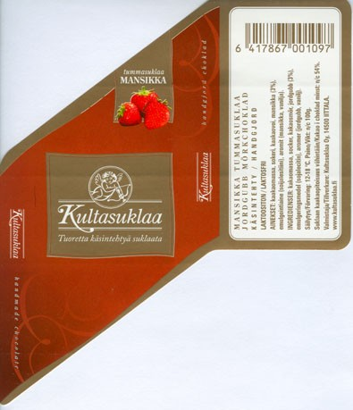 Dark chocolate with strawberry, handmade chocolate, 100g, 2006, Kultasuklaa Oy, Iittala,  Finland
