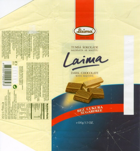 Dark chocolate with maltitol, 100g, 09.10.2003
