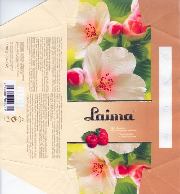 Laima, milk chocolate with strawberries and raspberries, 100g, 13.08.2005, Laima, Riga, Latvia