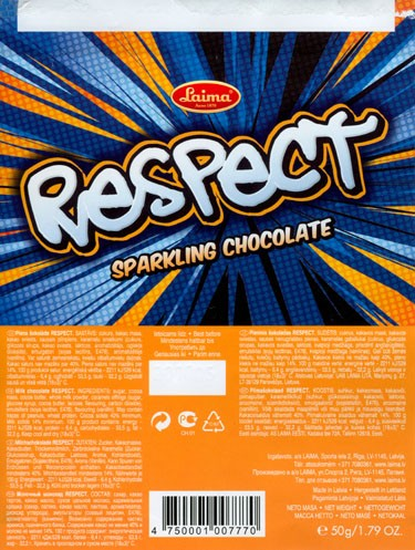 Respect, milk chocolate, 50g, 23.10.2005, Laima, Riga, Latvia