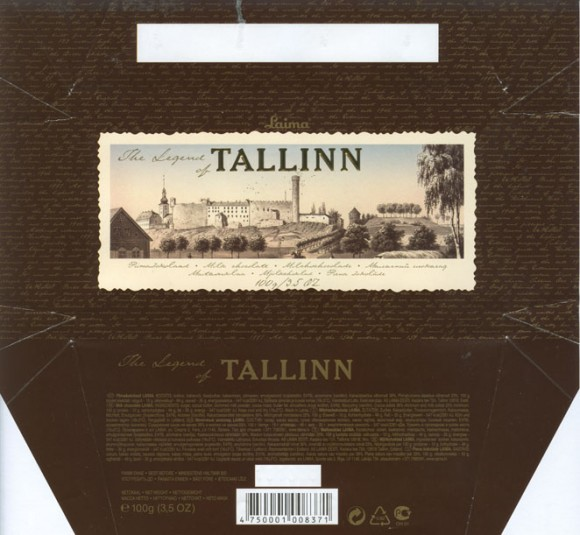The Legend of Tallinn, milk chocolate, 100g, 10.10.2005, Laima, Riga, Latvia