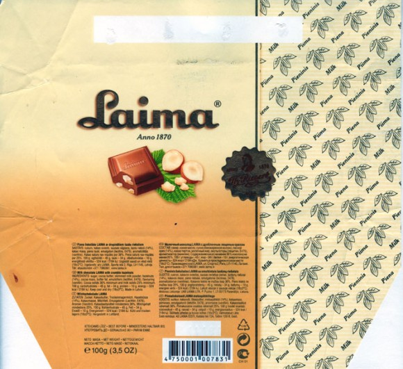 Laima, milk chocolate with hazelnuts, 100g, 11.11.2006, Laima, Riga, Latvia