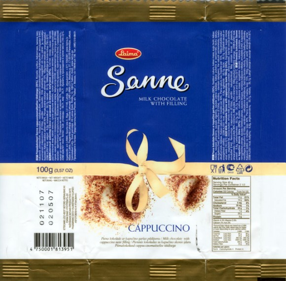 Sanne, milk chocolate with capuccino taste filling, 100g, 02.05.2007, AS Laima, Riga, Latvia