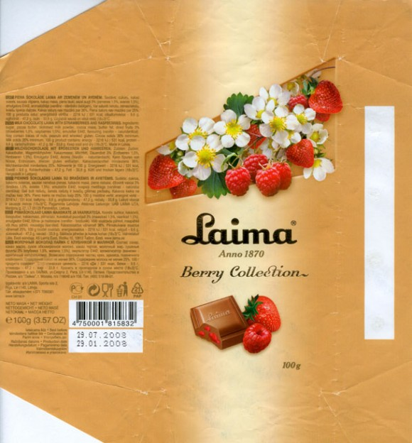 Berry collection, milk chocolate with raspberries and strawberries, 100g, 29.01.2008, AS Laima, Riga, Latvia