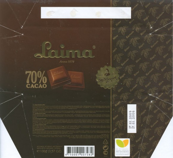 Laima 70% cacao, bitter chocolate, 100g, 27.03.2008, AS Laima, Riga, Latvia