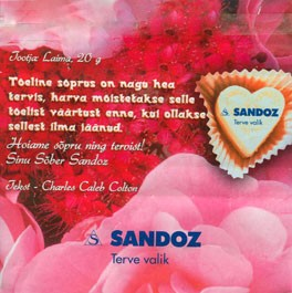 Sandoz, milk chocolate, 20g, 2009, Laima, Riga, Latvia