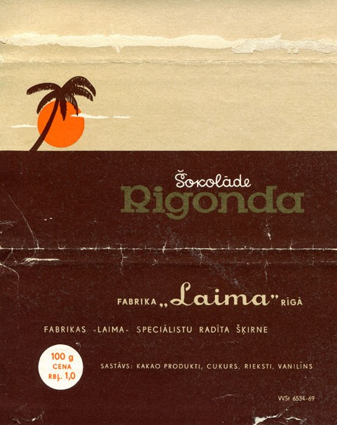 Rigonda chocolate, 100g, about 1970, Laima, Riga, Latvia