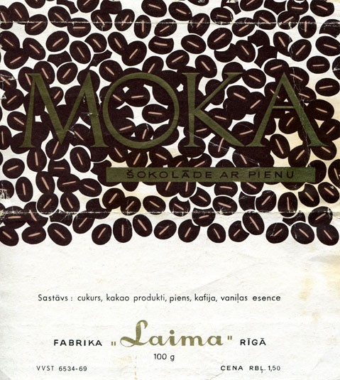 Moka, milk chocolate with coffee, 100g, about 1970, Laima, Riga, Latvia