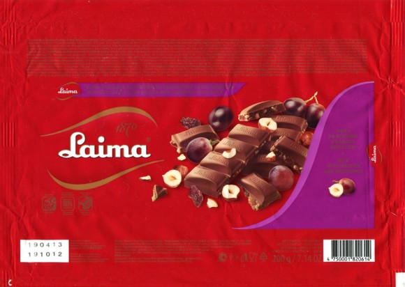 Milk chocolate with raisins and hazelnuts, 200g, 19.10.2012, Laima, Riga, Latvia