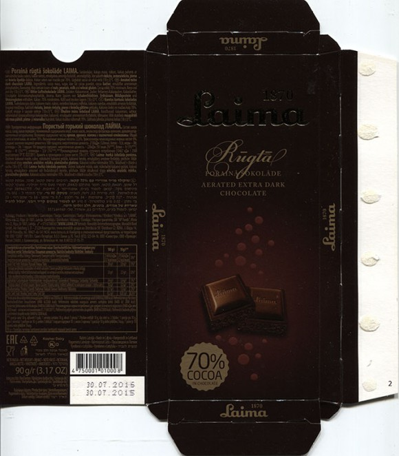 Aerated extra dark chocolate, 90g, 01.09.2015, Laima, Riga, Latvia