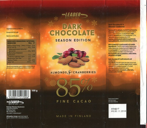 Dark chocolate season edition, dark chocolate 85% with almonds and cranberries, 100g, 30.11.2017, Leader Foods Oy, Vantaa, Finland