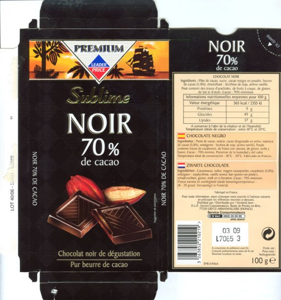 Premium Sublime, dark chocolate 70%, 100g, 03.2007, Leader price, Service consommateurs, Gretz/Armainvilliers, France
