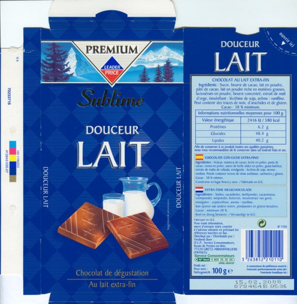 Premium Sublime, milk chocolate, 100g, 15.02.2007, Leader price, Service consommateurs, Gretz/Armainvilliers, France
