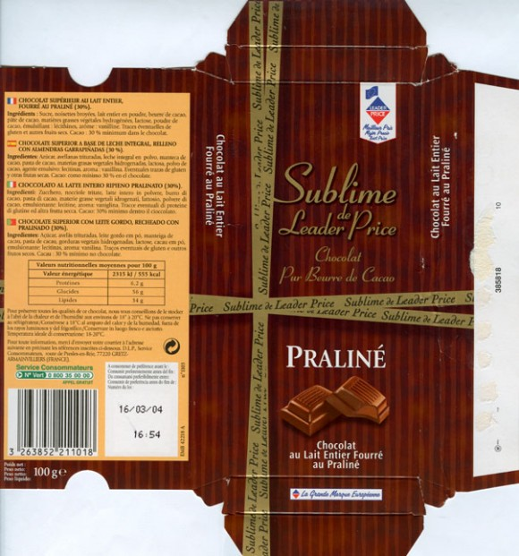Milk chocolate with praline filled, 100g, 16.03.2003, Leader price, Service consommateurs, Gretz/Armainvilliers, France