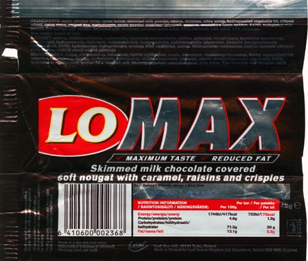 LoMax, skimmed milk chocolate covered soft nougat with caramel, raisins and crispies, 42g, 07.08.2000