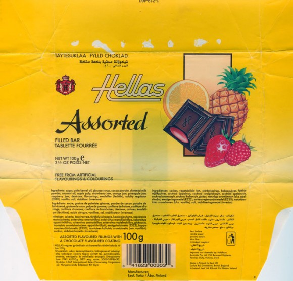 Hellas, Assorted flavoured fillings with a chocolate flavoured coating, 100g, 11.05.1993