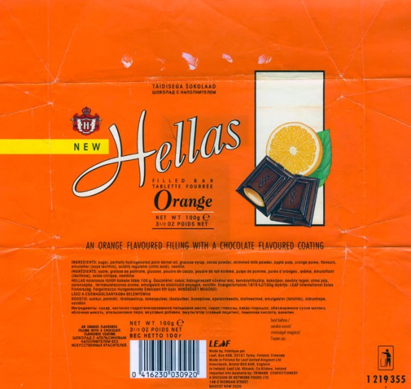 Hellas, an orange flavoured fillings with a chocolate flavoured coating, 100g, 20.03.1996