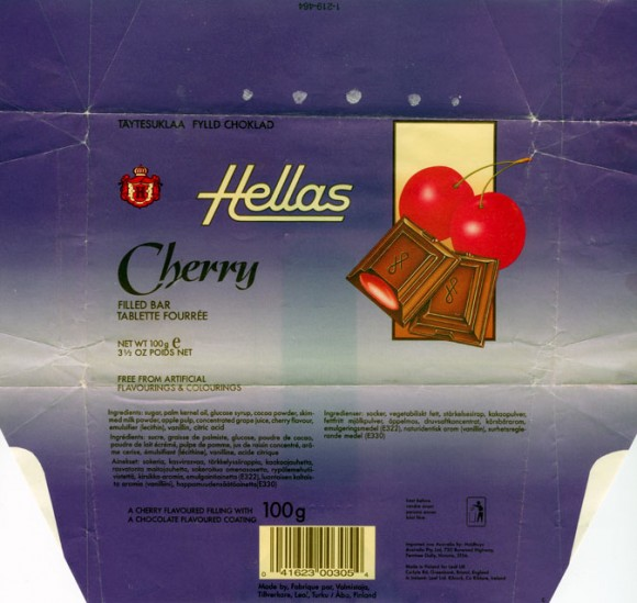 Hellas, a cherry flavoured filling with a chocolate flavoured coating, 100g, 16.05.1993