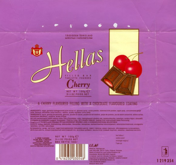 Hellas, a cherry flavoured filling with a chocolate flavoured coating, 100g, 03.01.1996