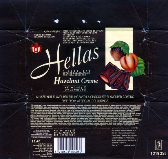 Hellas, a hazelnut flavoured filling with a chocolate flavoured coating, 100g, 04.01.1997