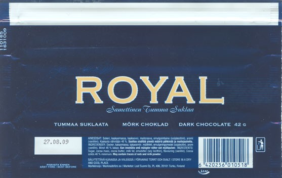 Royal, dark chocolate, 42g, 27.08.2008, Leaf Suomi Oy, Turku, Finland