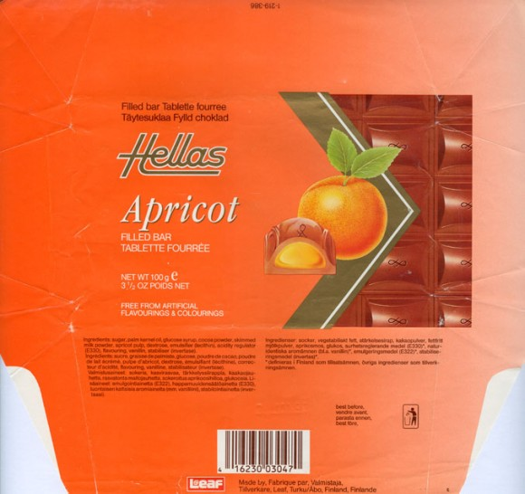 Hellas, milk chocolate filled with apricot flavoured cream, 100g, 03.01.1992, Leaf, Turku, Finland