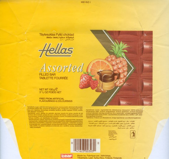 Hellas, milk chocolate filled with berries flavoured cream, 100g, 12.09.1991, Leaf, Turku, Finland