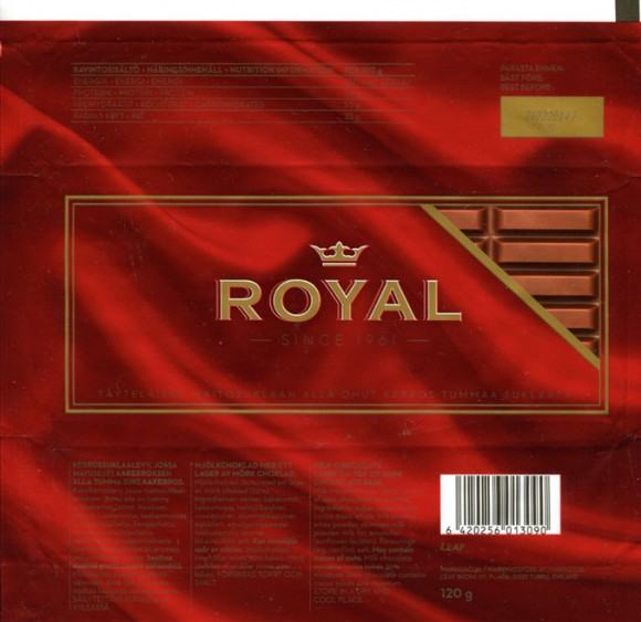 Royal, milk chocolate layer on top dark chocolate base, 120g, 26.02.2013, Leaf Suomi oy, Turku, Finland