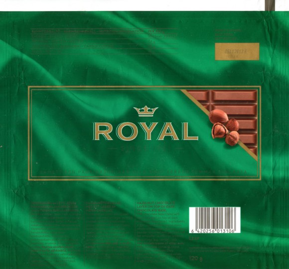 Royal, hazelnut chocolate layer on top of dark chocolate base, 120g, 05.11.2012, Leaf Suomi oy, Turku, Finland