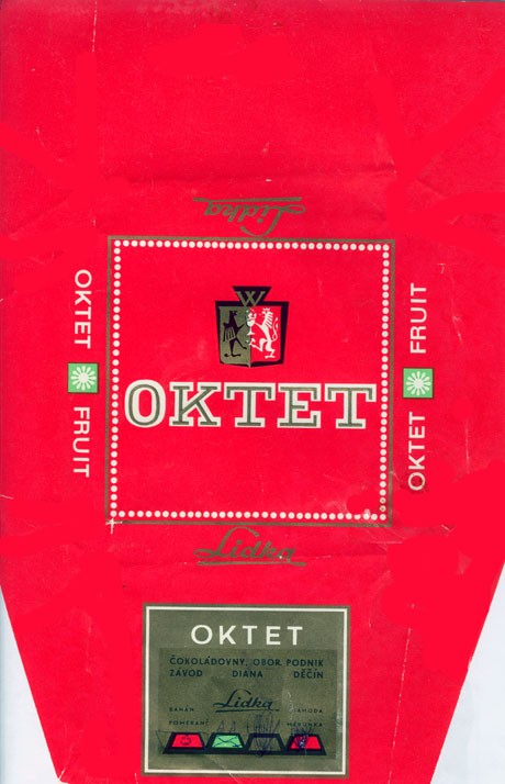 Oktet fruit, milk chocolate, about 1970, Lidka (Diana), Decin, Czech Republic (CZECHOSLOVAKIA)