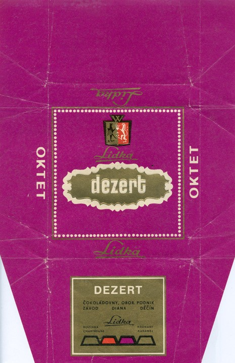 Dezert, milk chocolate with raisins and caramel (?), 100g, about 1970, Lidka (Diana), Decin, Czech Republic (CZECHOSLOVAKIA)