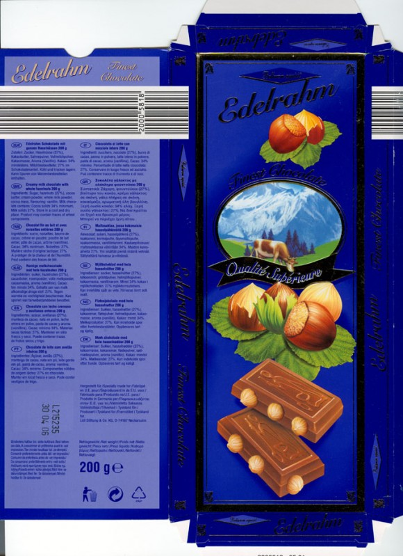 Edelrahm, creamy milk chocolate with whole hazelnuts, 200g, 30.04.2005, Lidl Stiftunh &Co. Kg, Neckarsulm, Germany