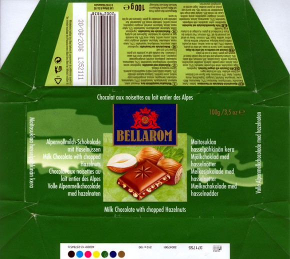 Bellarom, milk chocolate with chopped hazelnuts, 100g, 30.06.2005, Lidl Stiftunh &Co. Kg, Neckarsulm, Germany