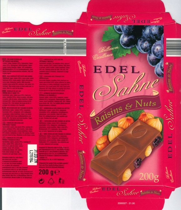Bellarom excellence, milk chocolate with nuts and raisins, 200g, 31.03.2005, Lidl Stiftung&Co.KG, D-74167 Neckarsulm