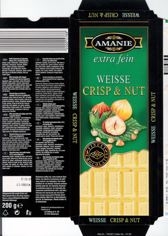 Amanie, white chocolate with chopped hazelnuts, 200g, 17.08.2006, Lidl Stiftung&Co.KG, D-74167 Neckarsulm, Germany