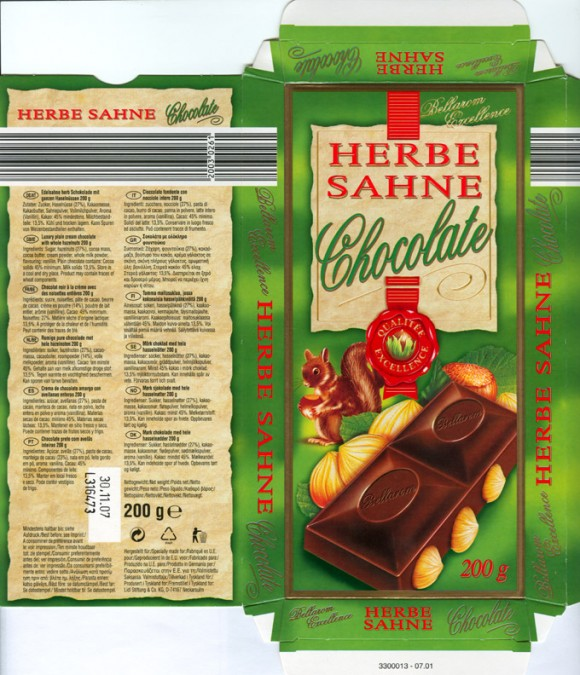 Herbe Sahne Chocolate, plain cream chocolate with whole hazelnuts, 200g, 30.11.2006, Lidl Stiftung&Co.KG, D-74167 Neckarsulm, Germany