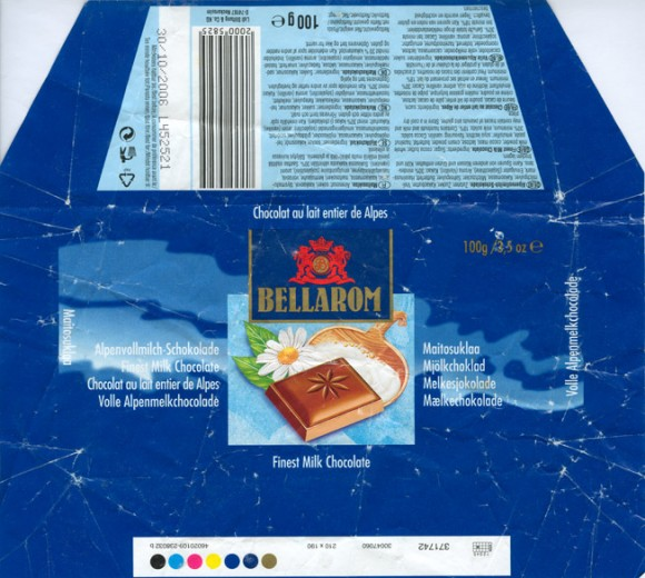 Bellarom, milk chocolate, 100g, 30.10.2005, Lidl Stiftung&Co.KG, D-74167 Neckarsulm, Germany