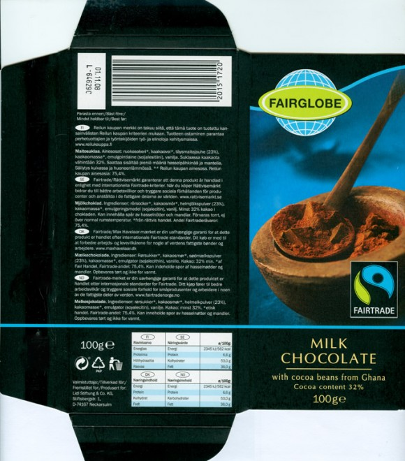 Fairglobe, milk chocolate with cocoa beans from Ghana, 100g, 01.11.2007, Lidl Stiftung&Co.KG, D-74167 Neckarsulm, Germany