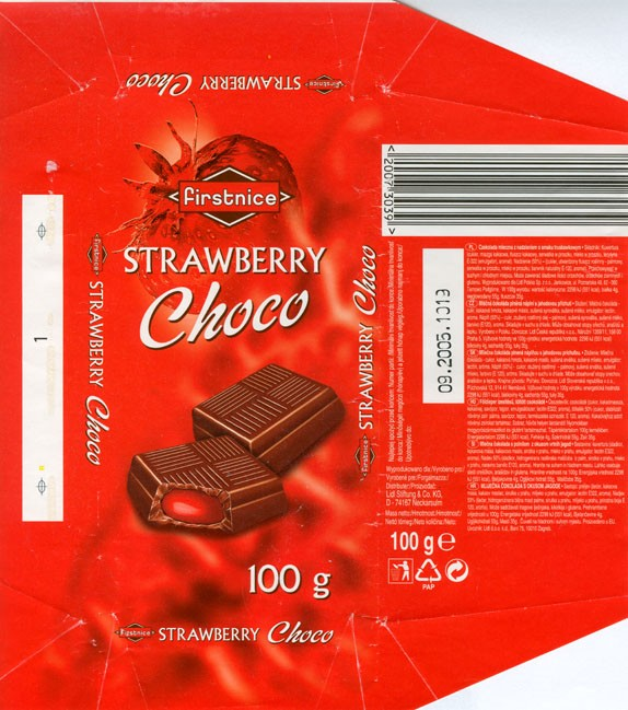 Milk chocolate filled with strawberry flavoured cream, 100g, 09.2004, Lidl Stiftung&Co.KG, D-74167 Neckarsulm, Germany