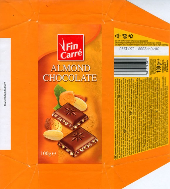 Fin Carre, milk chocolate with almonds, 100g, 30.04.2007, Lidl Stiftung&Co.KG, D-74167 Neckarsulm, Germany