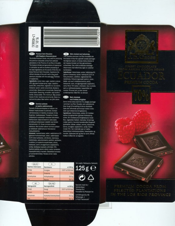 J.D.Gross, finest chocolate from Arriba cocoa beans, Ecuador 70% premium cocoa, dark chocolate with raspberry flavoured pieces, 125g, 15.05.2009, Lidl Stiftung&Co.KG, D-74167 Neckarsulm, Germany