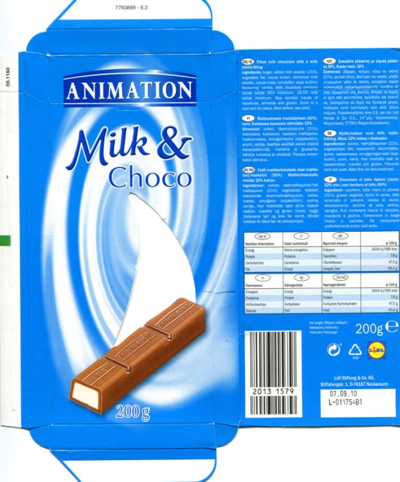 Animation, milk and choco, filled milk chocolate with a milk creme filling, 200g, 07.09.2009, Lidl Stiftung&Co.KG, D-74167 Neckarsulm, Germany