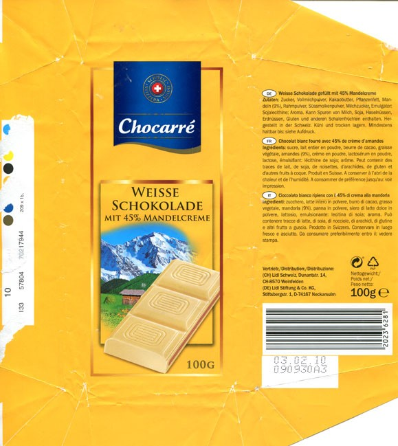 Chocarre, white chocolate filling with nut cream, 100g, 03.02.2010, Lidl Stiftung&Co.KG, D-74167 Neckarsulm, Germany